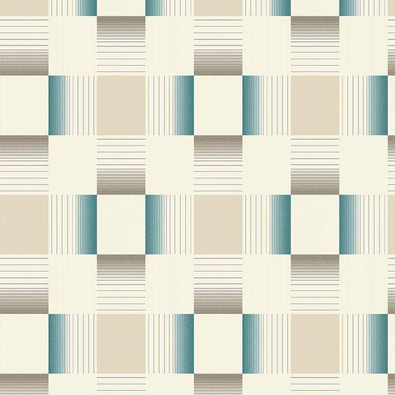 W2WUK / Wallpaper / Wallcoverings / Tiles / Tile Effects / Kitchen / Bathroom / Decorating / Tiling on a Roll / Holden Decor / British design / Hikari / Matrix / Teal / Cream / Blown Vinyl / Textured Vinyl / Geometric