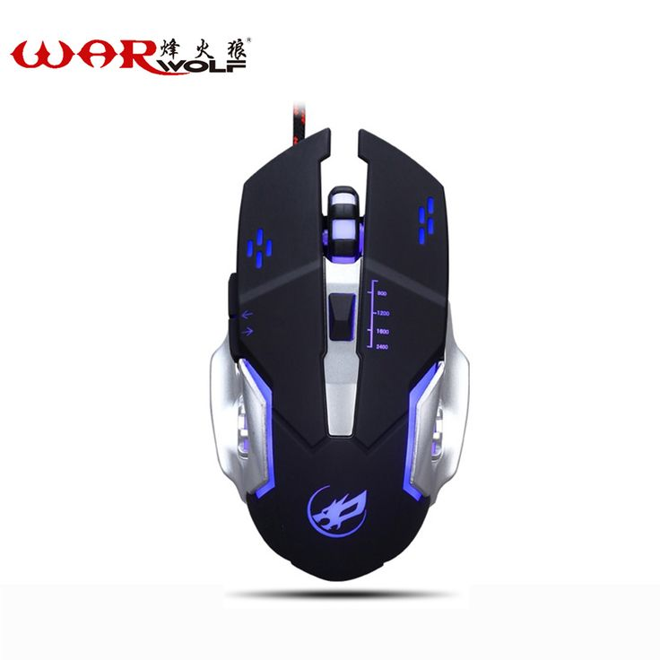 WarWolf Professional 6 Buttons Adjustable DPI Gaming Mouse USB Wired Optical Computer Game Mouse Mice for PC Laptop