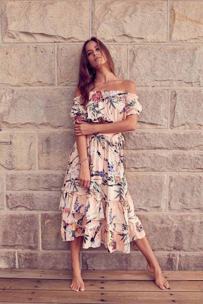 Esther Midi Off Shouldr Dress In Cupid Print Floaty Summer Dresses Boho Summer Dresses Dresses