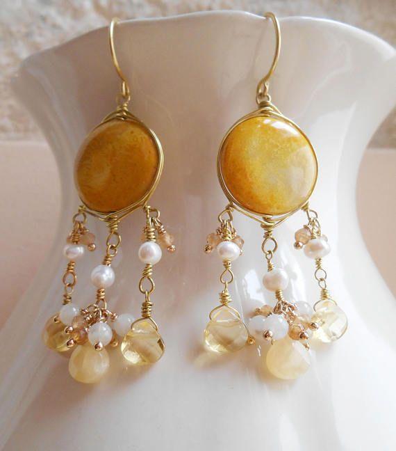 Moonlight bridal gemstone chandelier cluster earrings gold mustard yellow fossil coral citrine honey jasper pearl moonstone June birthstone