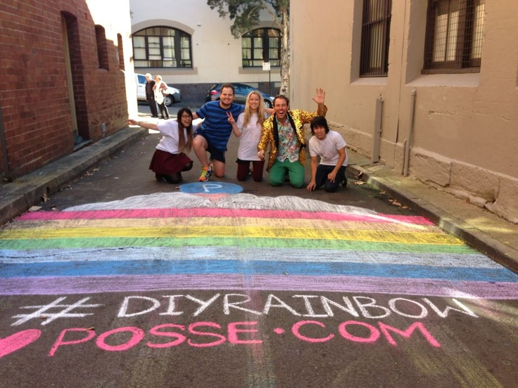 The pioneer of the DIY Rainbow Crossing movement walked by Posse.com's rainbow today!