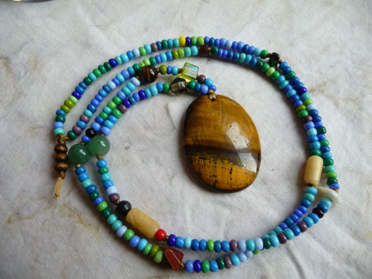 #eBay #auctions #beaded #tigerseye #longnecklace #necklace #handmade #jewelry #fashion #artisan #blue #GypsyJewelry #rustic #rawjewelry #handmadejewelry #cherokeedancing