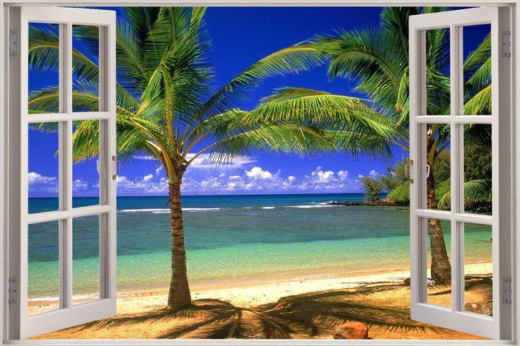 Huge 3D Window Exotic Beach View Wall Stickers Film Mural Art Decal Wallpaper in Wallpaper   eBay