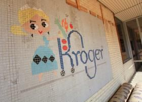 A tile mosaic of a 1960s Kroger character, Little Miss Kroger, was uncovered in recent renovations.: News, Kroger Character, Kroger Stores, Midcentury Architecture, Little Miss Kroger Tile Mosa, Design, Logs Cabin, Roads, Tile Mosaics