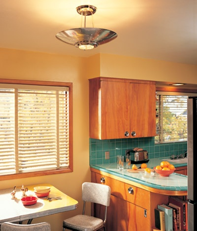 The mid century modern kitchen stunningly recreated by for Period kitchen cabinets