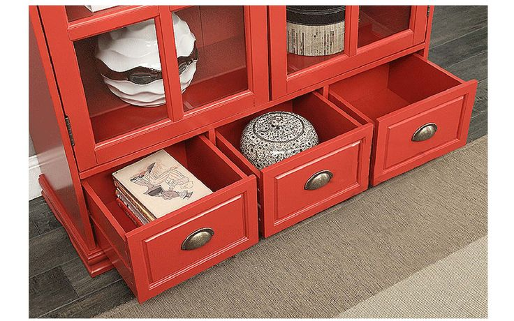 Выдвигающиеся нижние ящики красного книжного шкафа из интернет-магазина https://lafred.ru/catalog/catalog/detail/45307446236/