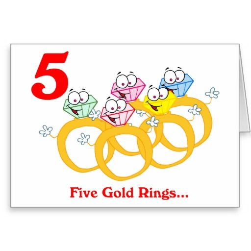 On the 5th Day of Christmas five Gold Rings Greeting Card