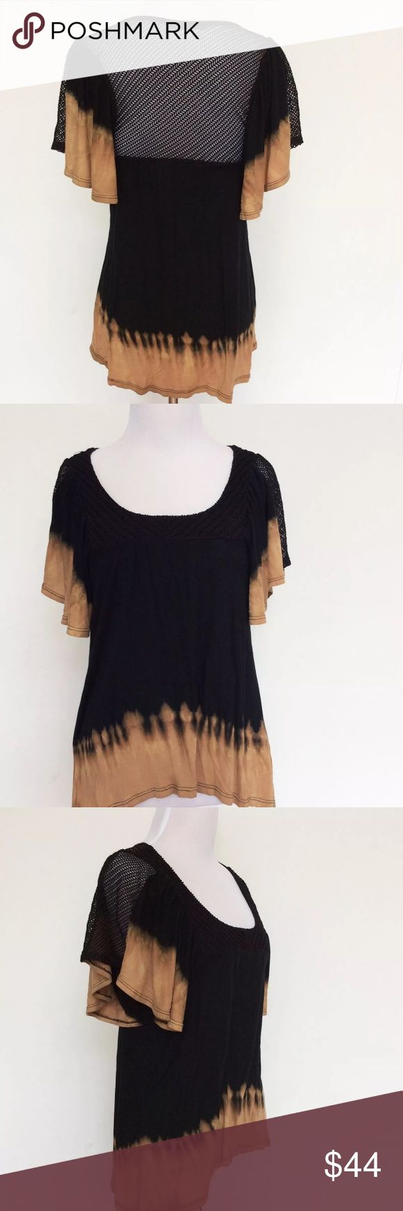 """Black Hearts Brigade Tie Dye Top Brown Shirt XS Black Hearts Brigade Tie Dye Top Brown Shirt Batwing Burning Fishnet Man XSmall  Sooo cute and great for festivals! Black and brown drip tie dye with black fishnet/netty back. Flirty flutter/batwing sleeves! Rare and hard to find!  Excellent Condition. Has a tiny hole in the front bottom.  Size: Extra Small Bust (flat): 16""""-19"""" Length from shoulder: 22.5"""" (front) - 28"""" (back)  97% Nylon. 3% Spandex.  Please check out my Trixy Xchange closet for…"""