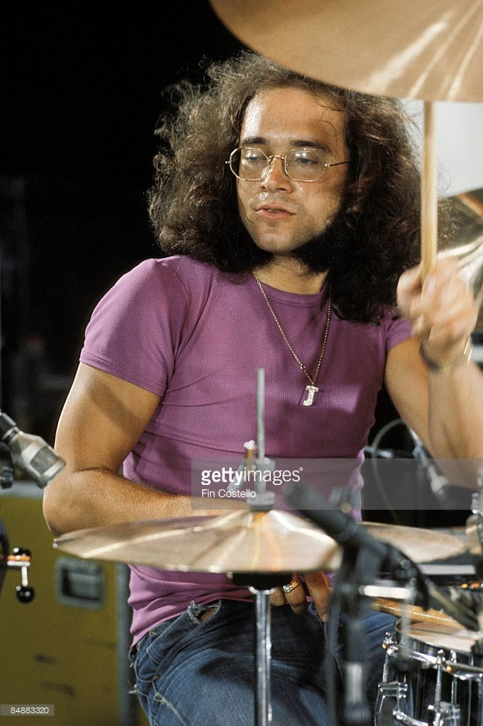 Photo of Ian PAICE and DEEP PURPLE; Ian Paice playing drums at rehearsal at Columbia Studios sound stage