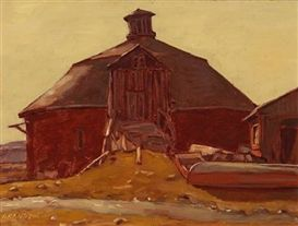 Helmut Gransow Round Barn;  Dimensions:  12 X 16 in (30.48 X 40.64 cm) Medium:  both oil on panel Creation Date:  1976 Signed  http://zaidan.ca/Art_Gallery/Gransow/Gransow_Helmut.htm