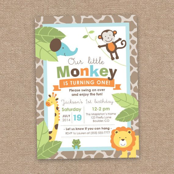Monkey Jungle Animals First Boy Birthday Invitation Summer Theme