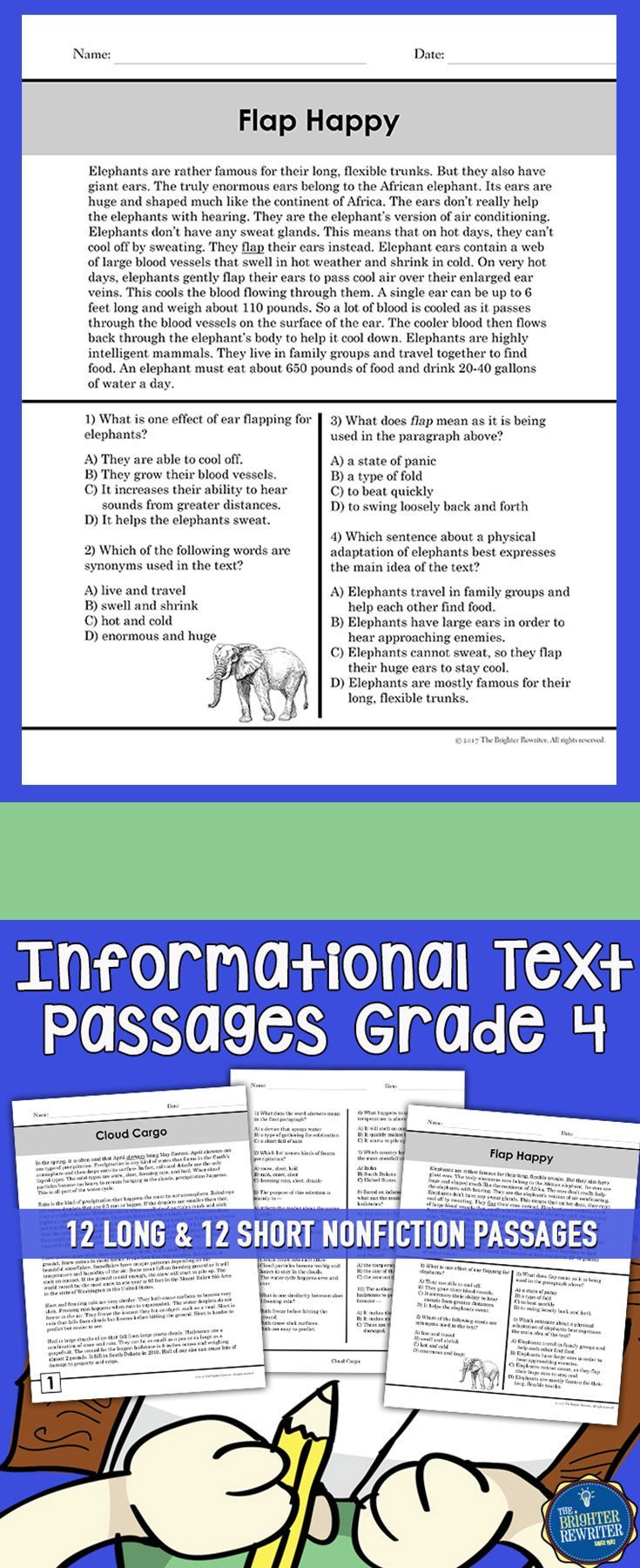 12 Long Passages Feature One Page Of Informational Text One Page Of Multiple Ch Informational Text Passages Informational Text Reading Comprehension Passages [ 1800 x 735 Pixel ]