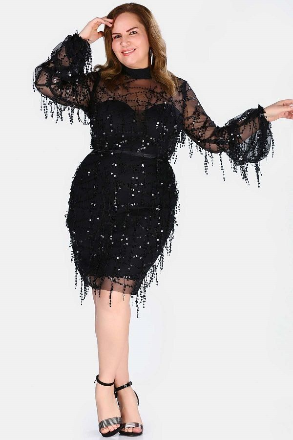 فستان سهرة تول أسود قصير بترتر مقاس كبير نسائي Fashion Style Product Description