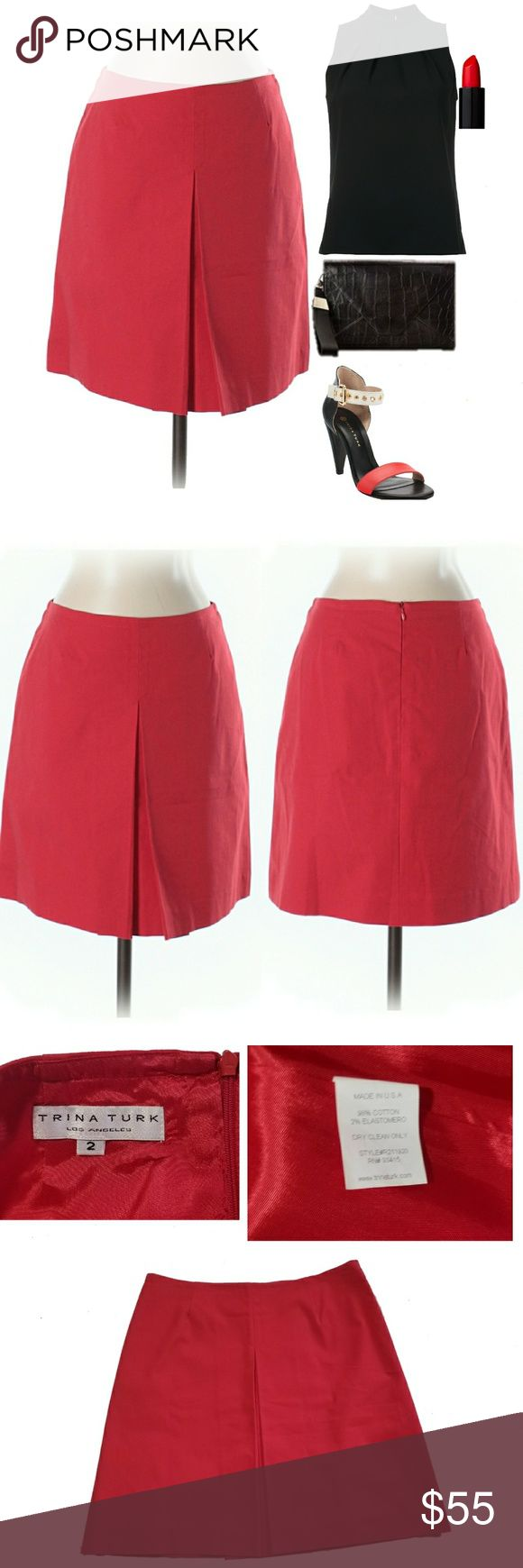 """New! Trina Turk Vibrant Red Skirt Approx 17"""" Length. Lovely, high quality mini skirt by Trina Turk. Beautiful design. Single front center pleat, back concealed zipper down center. Gorgeous skirt! Excellent condition. Offers welcome.     *I'm lucky that my buyers have all been amazing, but I video record all purchases before & during packaging ☺ Trina Turk Skirts"""