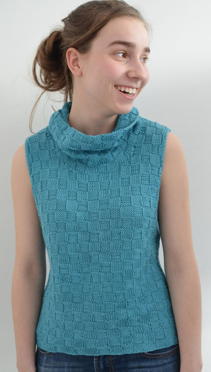 166 best top knitting patterns many free images on pinterest knitting pattern for damara top ad sleeveless top shell or vest with basketweave texture bankloansurffo Image collections