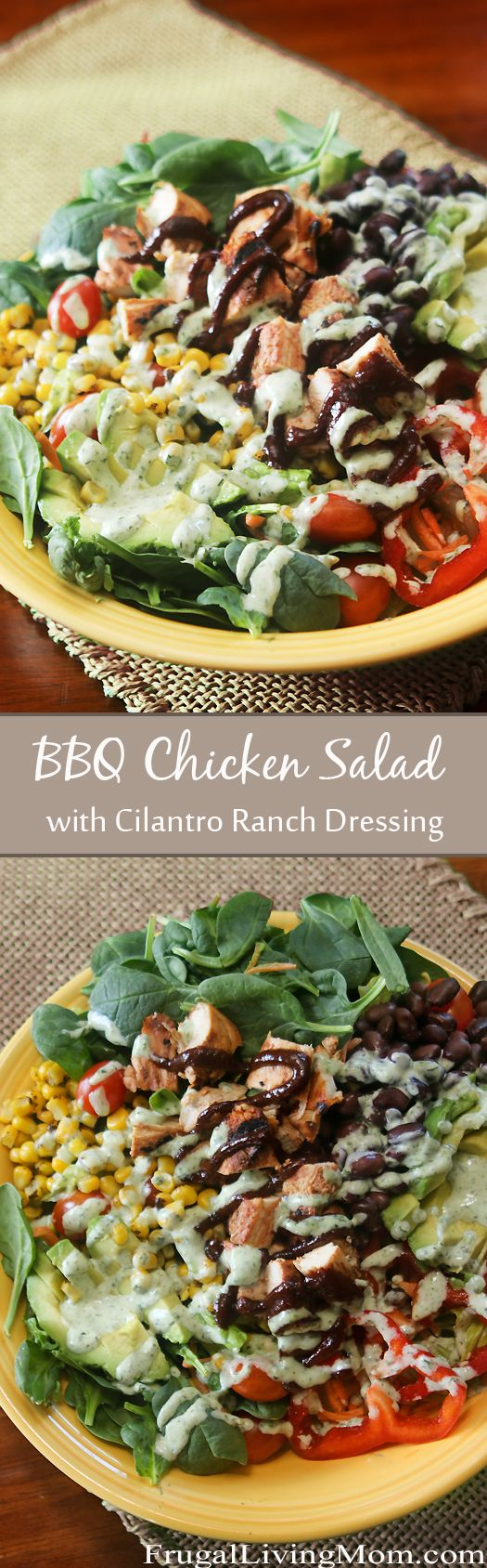 BBQ Chicken Salad with Cilantro Ranch Dressing.  A GREAT Salad for the summer!