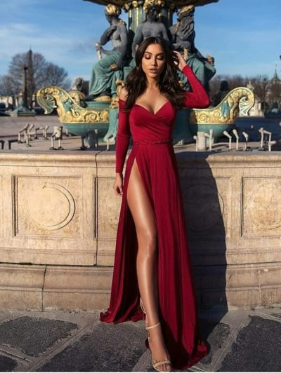 Awesome Off shoulder prom dress,red long evening dress,party dress with high split