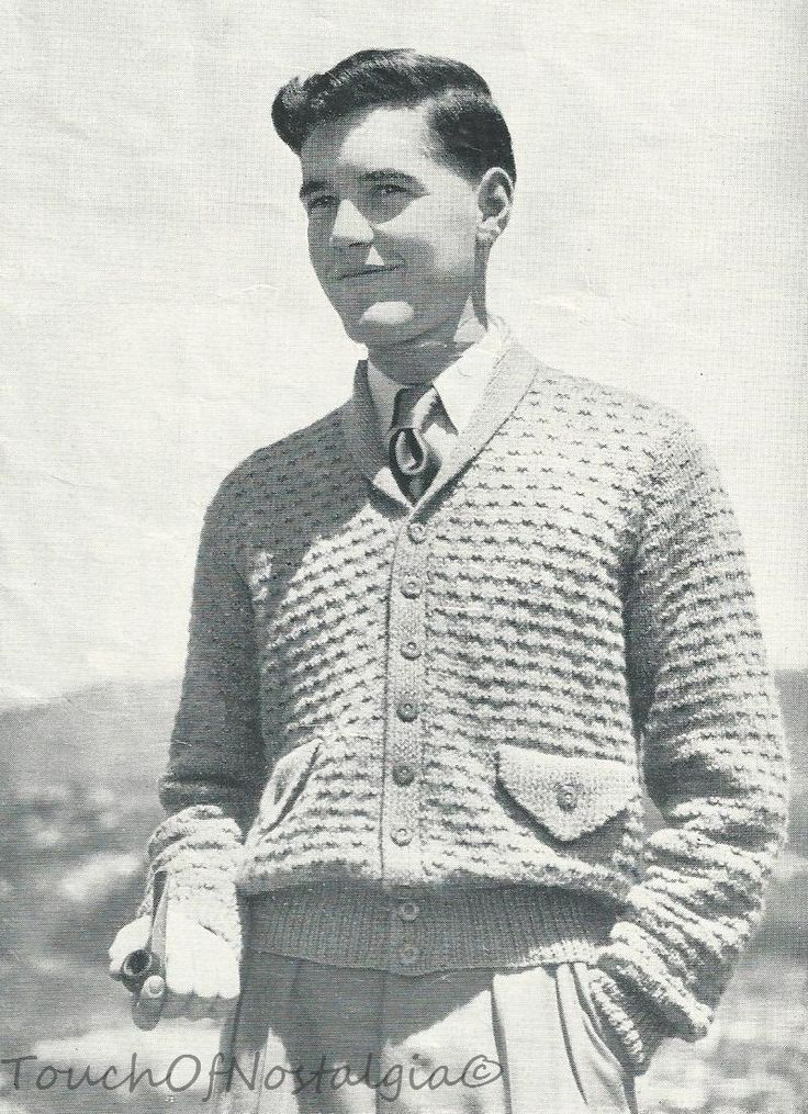 Men's Cardigan Vintage Pattern c. 1940s