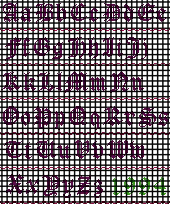 Easy Old English cross stitch pattern-the numbers can be found at the website.  Great for bible quotes.