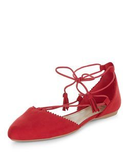 Wide Fit Red Suedette Pointed Ghillie Pumps  | New Look