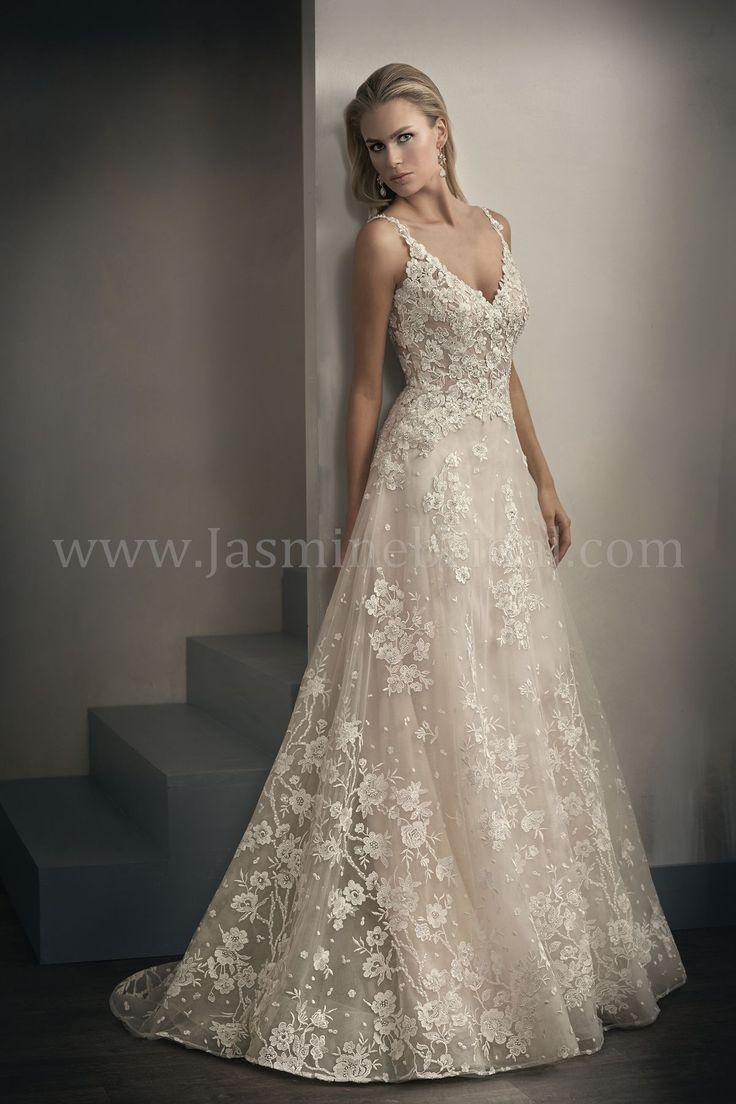 Jasmine Bridal | Couture Style T192062 in Ivory/Vintage | Embroidered Lace | A-Line Bridal Gown | V-Neck | Illusion Train | Romantic