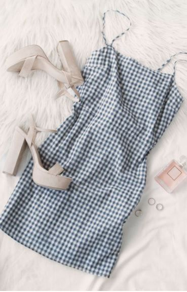 Check Yes Dress Navy