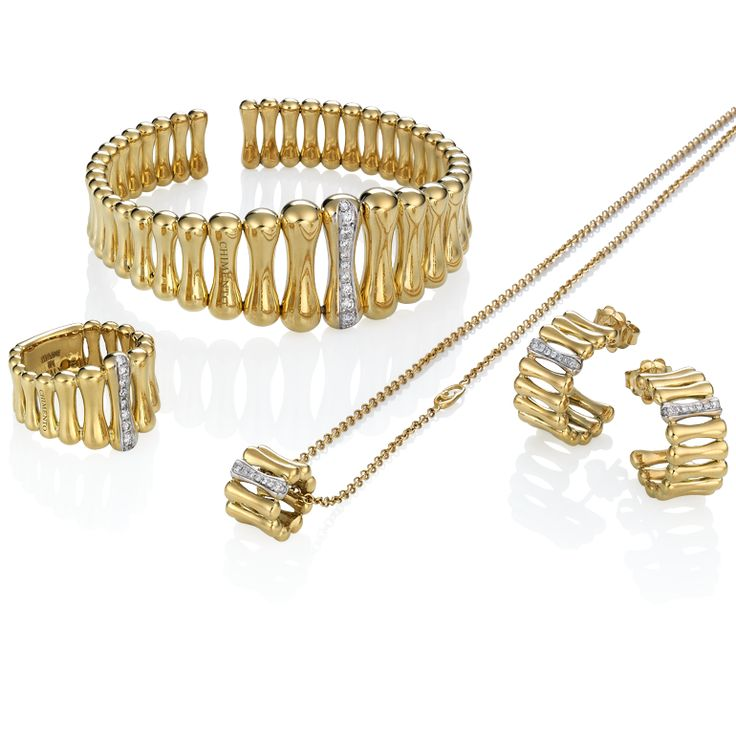 CHIMENTO Bamboo Over gold bracelet, ring, earrings and pendant with diamonds.