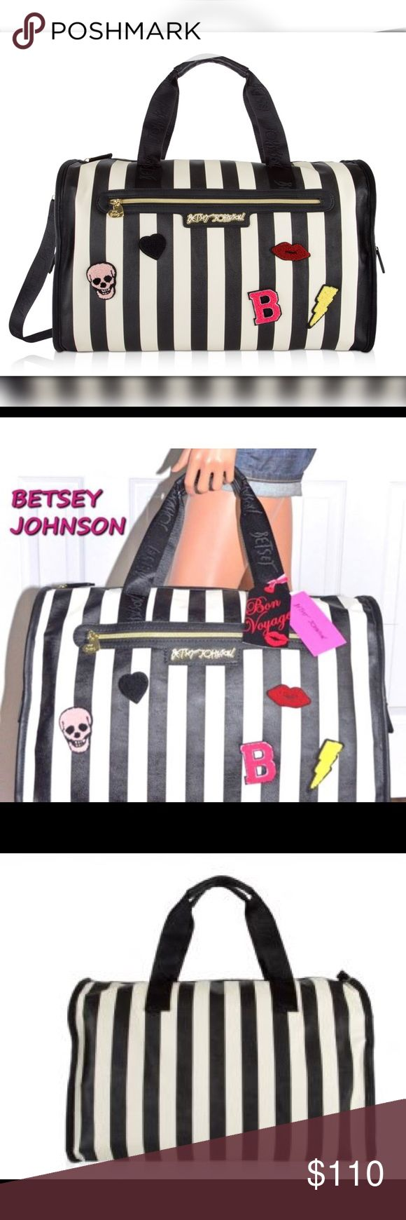 """Patch 💀 Striped Weekender Huge Travel Duffel Bag Hit the road in style with these uniquely designed lightweight duffel bag. zipper closure and spacious interior sized-right for last minute getaways, dual carrying handles with a drop of 8 inches, and a Removable adjustable strap for easy carrying, Convenient Front outer pockets, fully lined printed  interior, with a back wall pockets. It's the perfect addition to your everyday adventures. Great as a gym bag/small overnighter.  PVC 20 """"x 11""""…"""