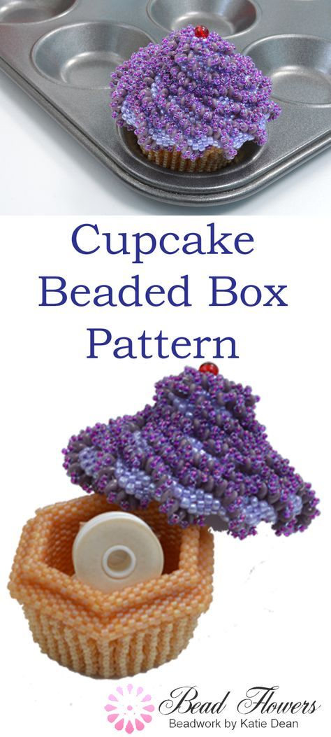 Beading tutorial for making this cupcake beaded box. Using Peyote stitch. This is a seed bead tutorial. Designed by Katie Dean, Beadflowers.