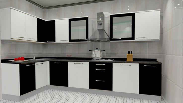 Popularity of L Shaped Modular Kitchen Designs: Black And White L Shaped Modular Kitchen Designs