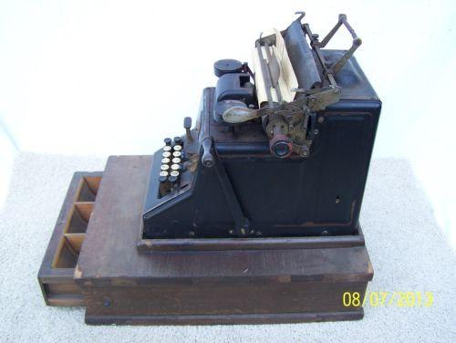 Antique dalton adding calculating machine with wooden cash