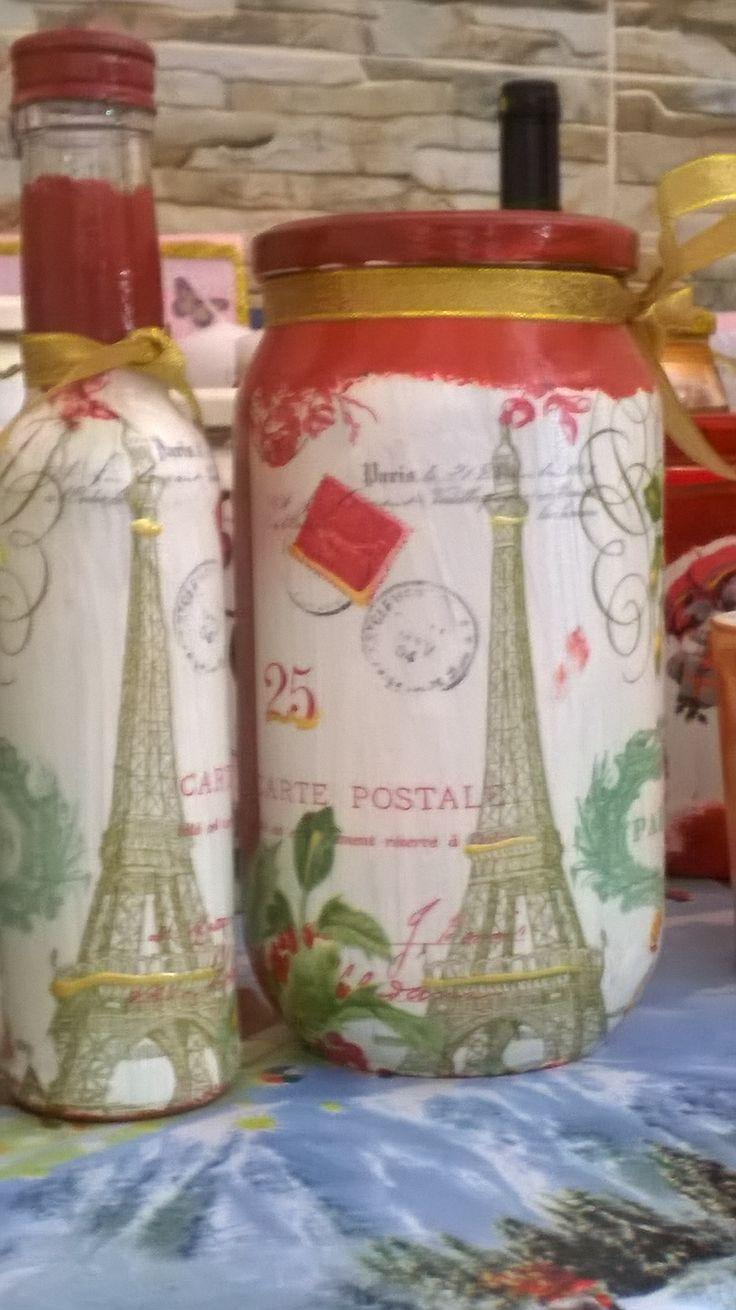 """Σετ μπουκαλι-βαζο """"PARIS"""""""