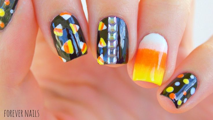 Easy Halloween Candy Corn Nails