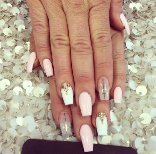 Coffin Shape With Bling And Cross Design Nails Pinterest Cross