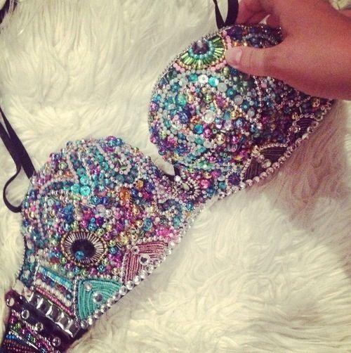 Love EDC ?!? Jeweled bead rhinestone bra WOW