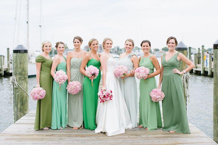 mismatched long green bridesmaids dresses. love. // Natalie Franke ...