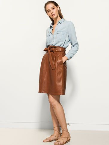 {10} {11} {9}´ss LEATHER SKIRT WITH BELT at Massimo Dutti for 230. Effortless elegance!