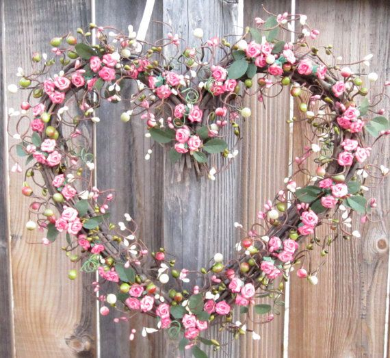 Heart Shaped Wreath Pink Roses Valentines Day by laurelsbylaurie