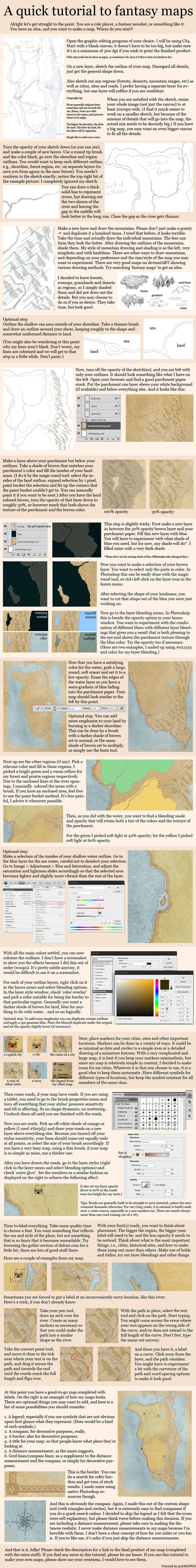 A quick tutorial to fantasy maps and cartography by justMANGO