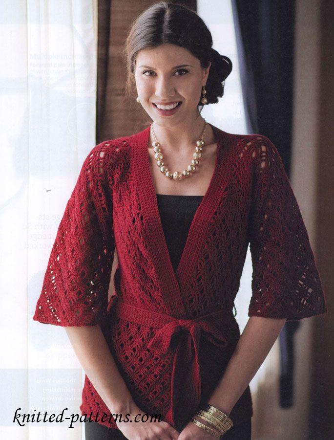 Free Crochet Kimono Pattern Crocheted Cardigans Tops
