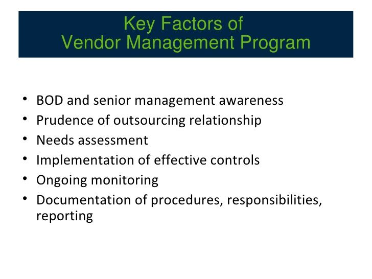 Vendor Management Compliance Checklist Manifesto Series Management Senior Management Manifesto