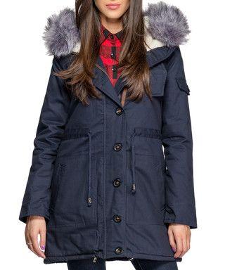 Navy cotton faux fur trim hooded parka Sale - ISABEL BY ROZARANCIO Sale
