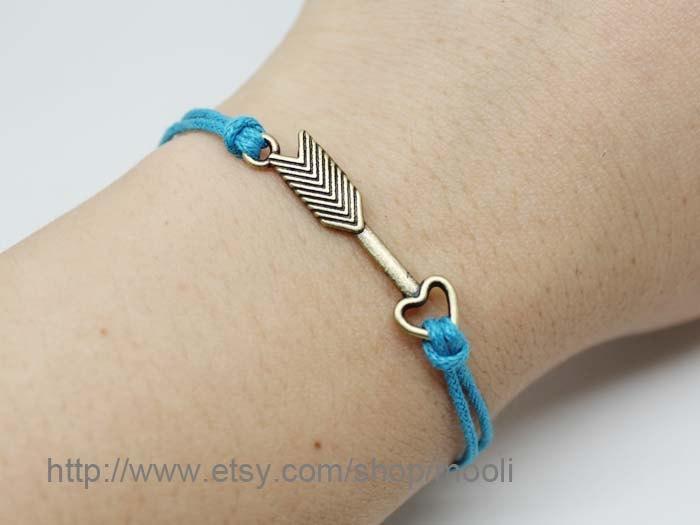Adjustable Ocean Blue Rope Bracelet Arrow Bracelet Arrow With Love Bracelet Charm Bracelet. $3.50, via Etsy.