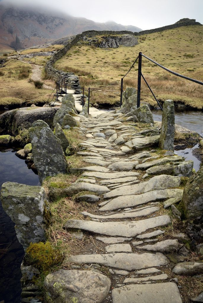 rocky path to Slater's bridge, Little Langdale, Lake District, England by Jason Connolly