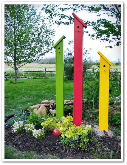 A Rainbow of Color bird house towers