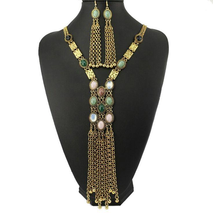 2016 collar pendientes traje fanshion de Bohemia gargantilla borla de plata Vintage mujer de la navidad collares declaración de joyería
