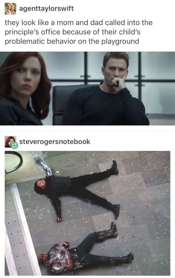 Concerned parents captain America steve rogers and black widow natasha romanoff with troublesome kids falcon sam wilson and winter soldier bucky barnes