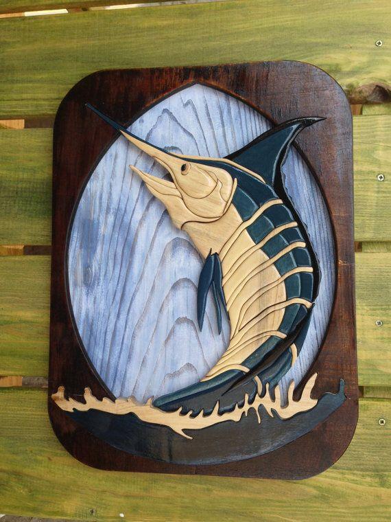 intarsia blue marlin by woodenmann on Etsy