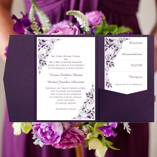 Best 25 Plum Wedding Invitations Ideas On