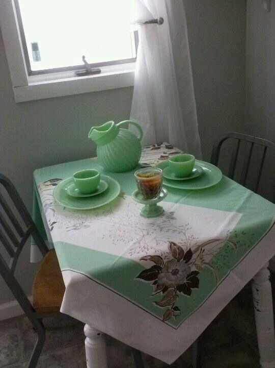 Vintage jadite - love the tablecloth, too!
